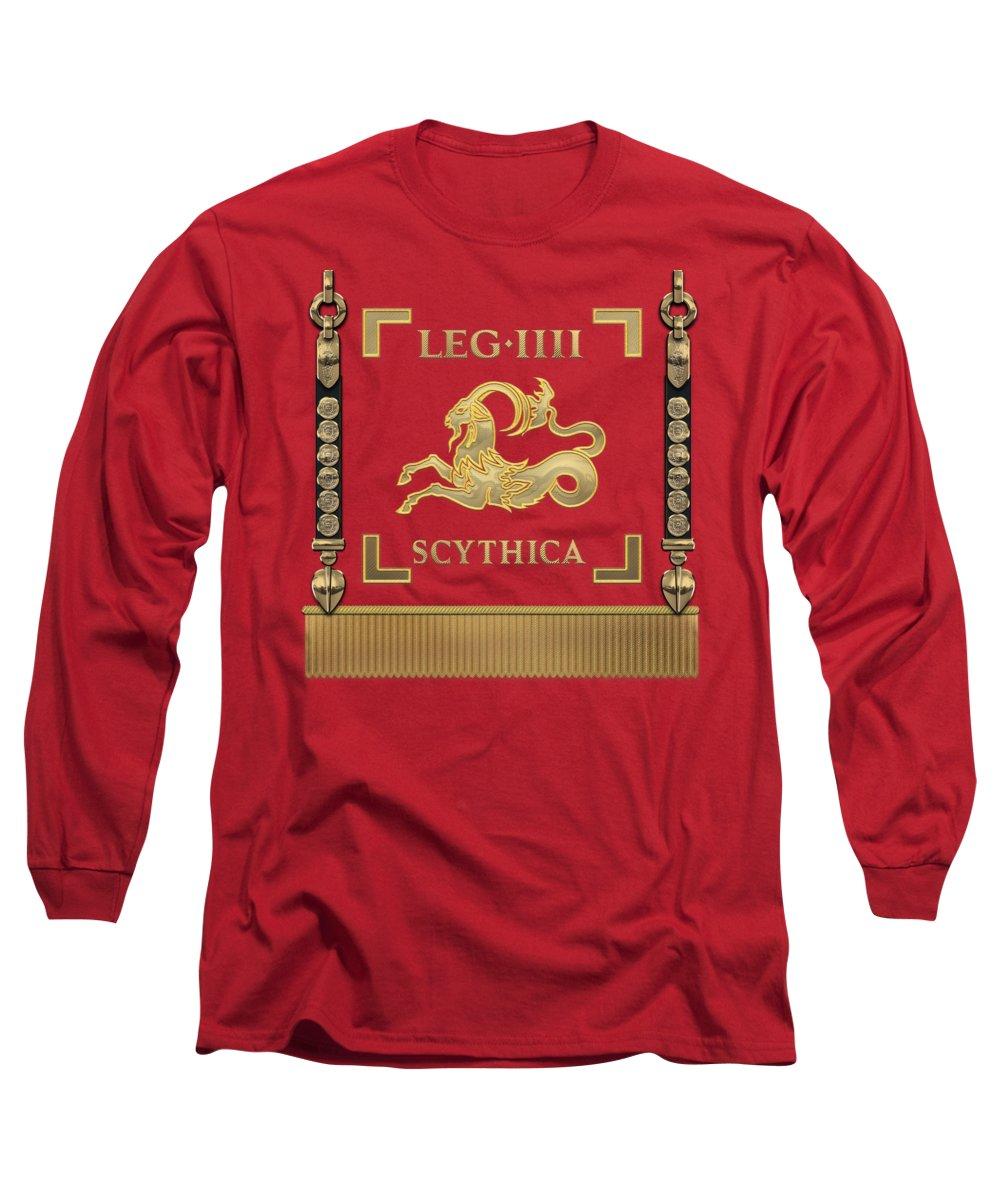 Rome Collection By Serge Averbukh Long Sleeve T-Shirt featuring the digital art Standard Of The Scythian Fourth Legion - Vexillum Of Legio Iv Scythica by Serge Averbukh