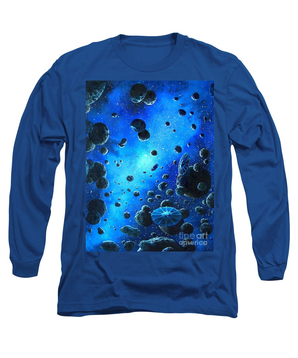 (space Ships) Long Sleeve T-Shirt featuring the painting Alien Flying Saucers by Murphy Elliott