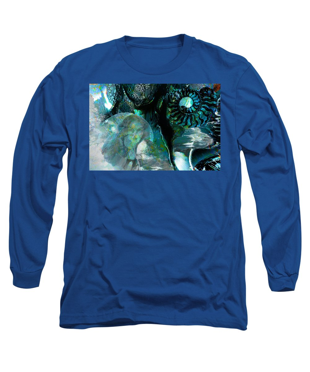 Ocean Long Sleeve T-Shirt featuring the digital art Ammonite Seascape by Lisa Yount