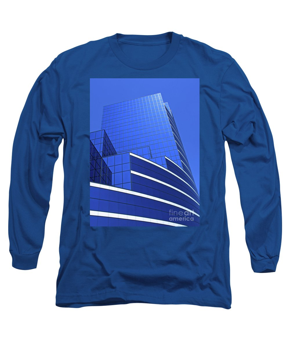 Architecture Long Sleeve T-Shirt featuring the photograph Architectural Blues by Ann Horn