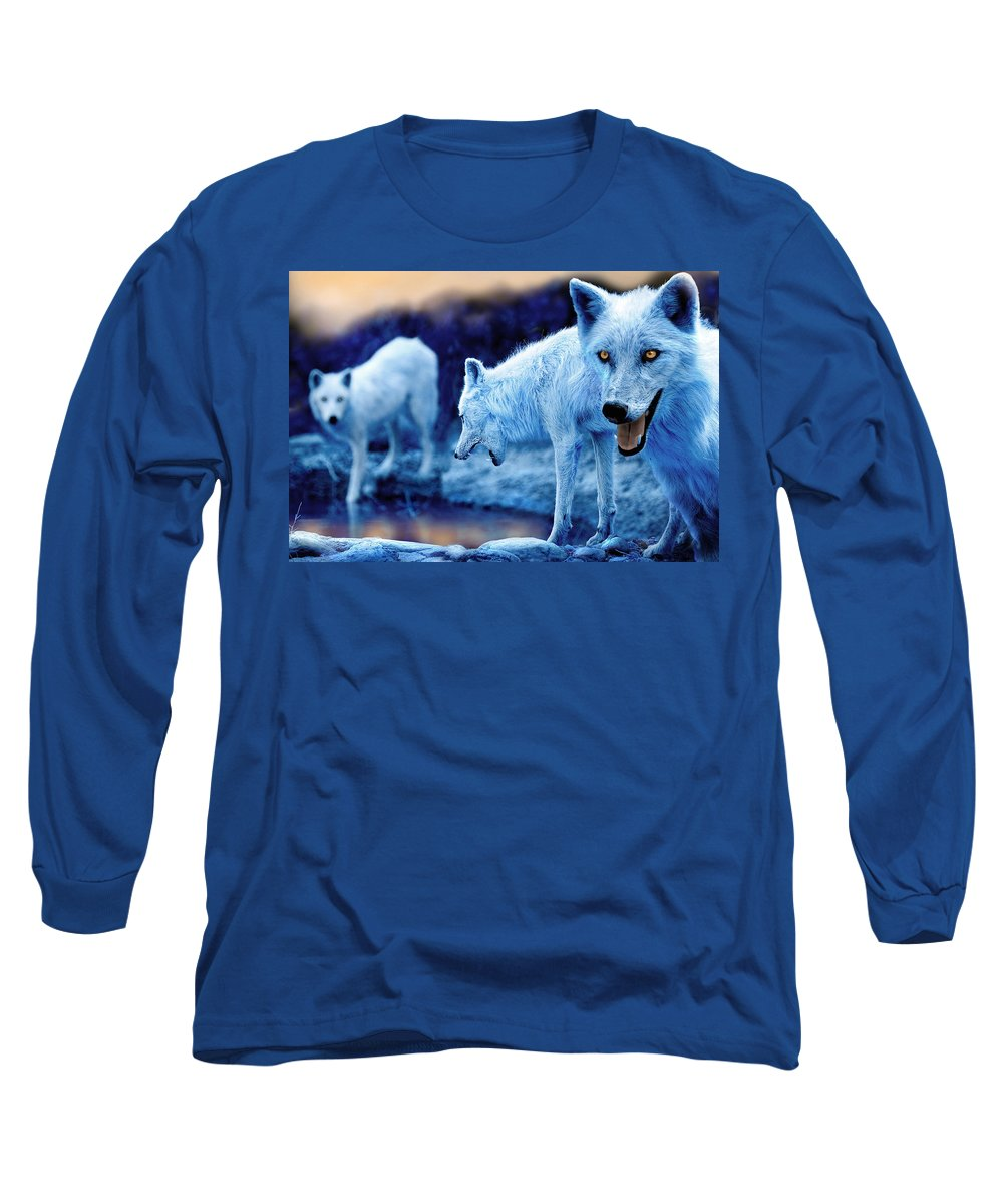 Wolf Long Sleeve T-Shirt featuring the photograph Arctic White Wolves by Mal Bray
