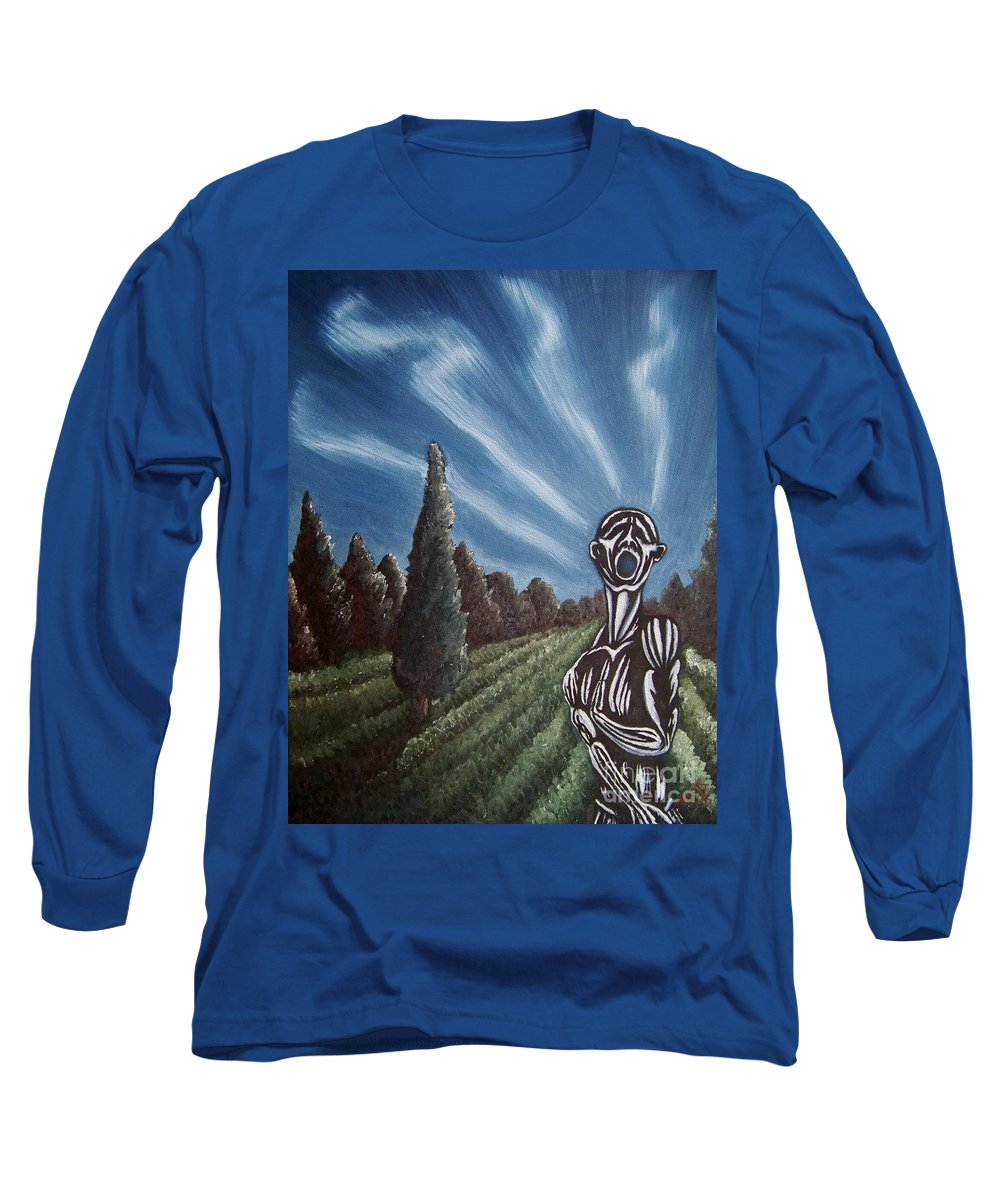 Tmad Long Sleeve T-Shirt featuring the painting Aurora by Michael TMAD Finney