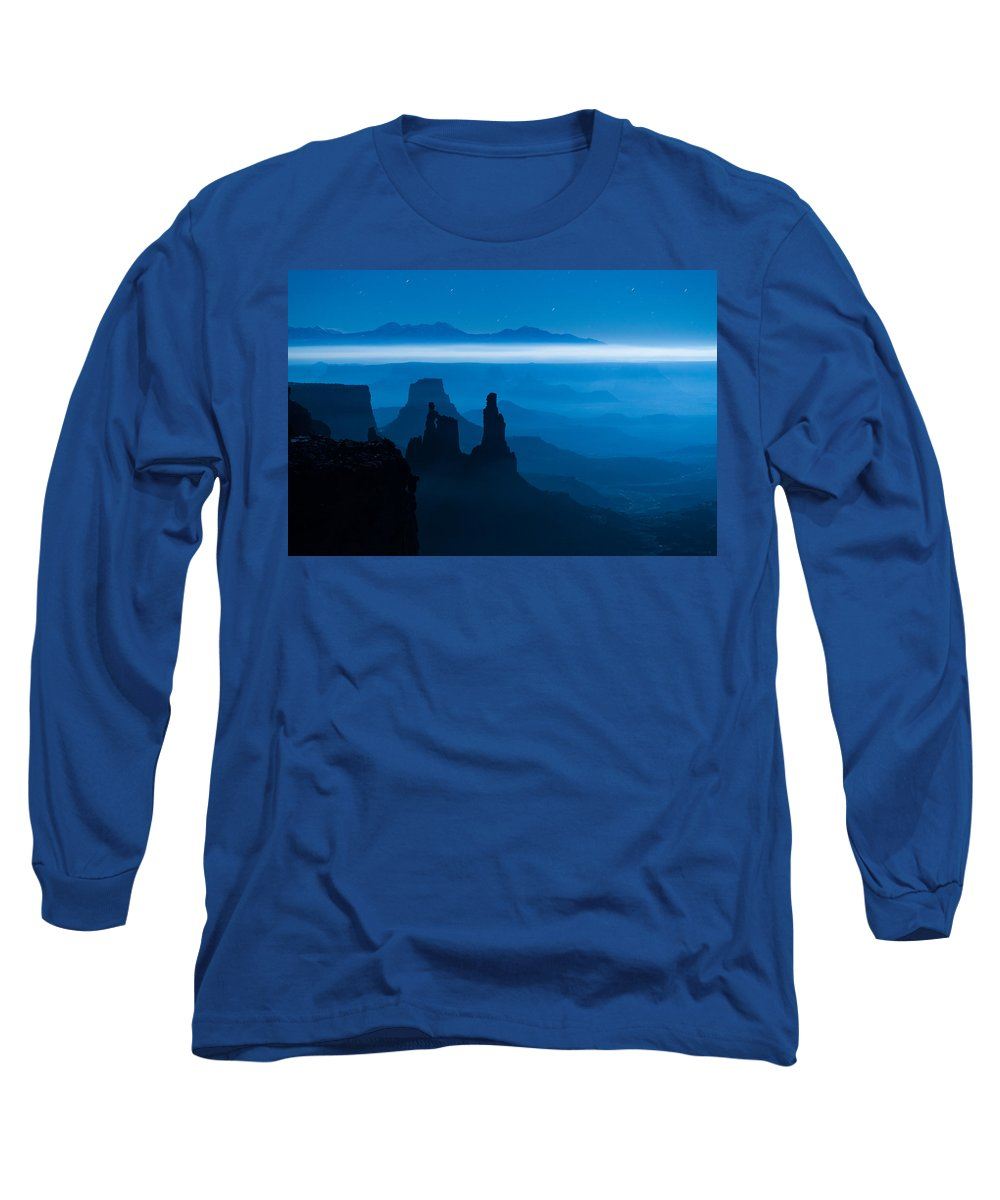 Utah Long Sleeve T-Shirt featuring the photograph Blue Moon Mesa by Dustin LeFevre