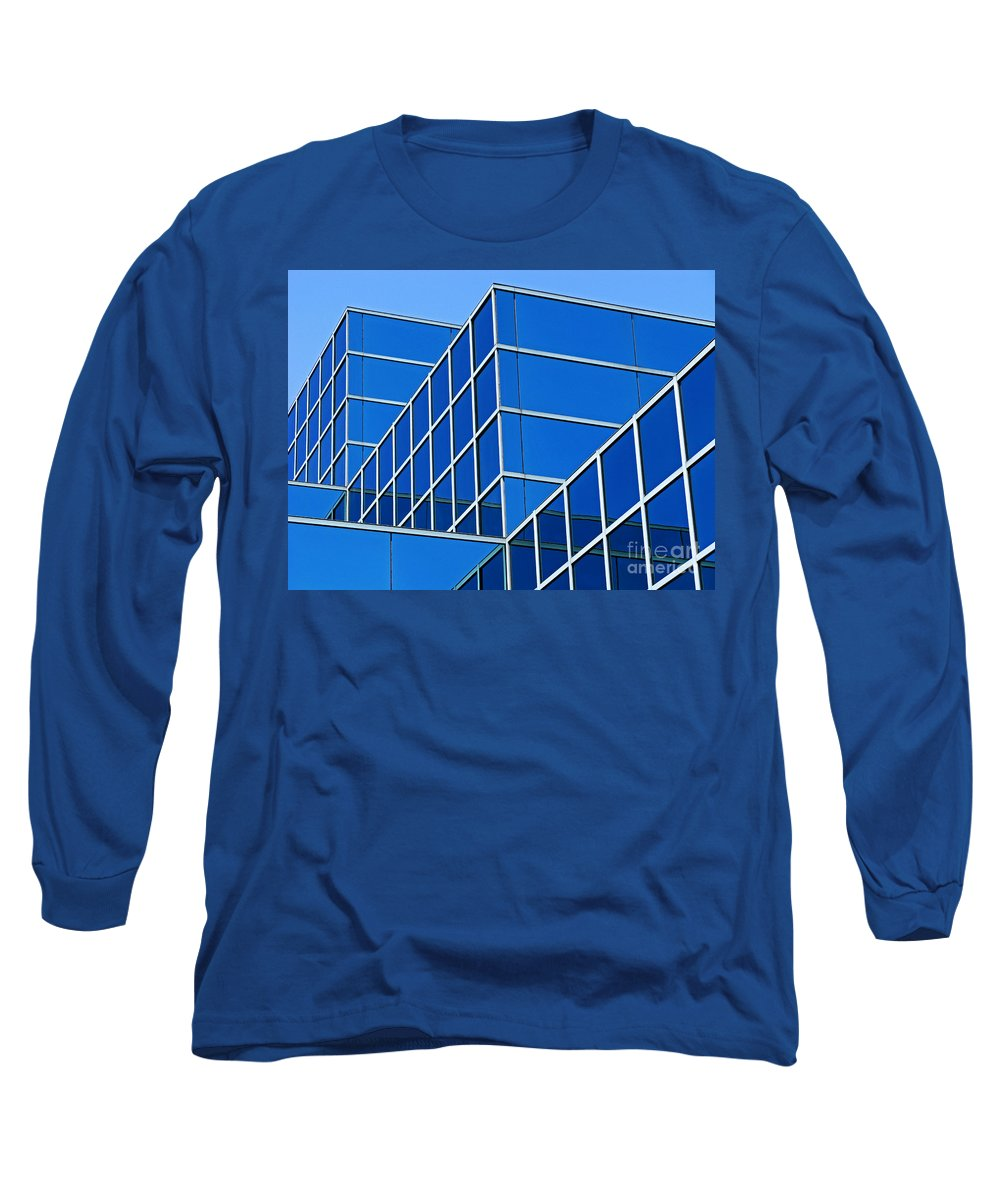 Building Long Sleeve T-Shirt featuring the photograph Boldly Blue by Ann Horn