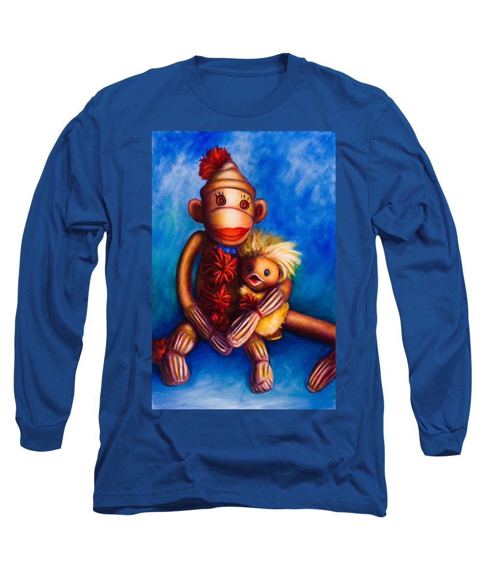 Sock Monkeys Brown Long Sleeve T-Shirt featuring the painting Buddies by Shannon Grissom