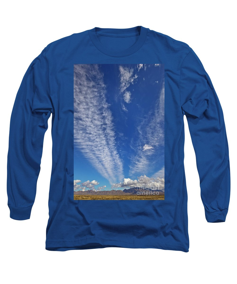 00559302 Long Sleeve T-Shirt featuring the photograph Contrails And Cumulus Cloud New Mexico by Yva Momatiuk John Eastcott