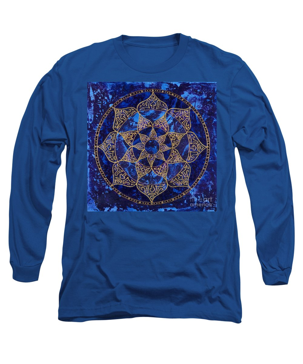 Mandala Long Sleeve T-Shirt featuring the painting Cosmic Blue Lotus by Charlotte Backman