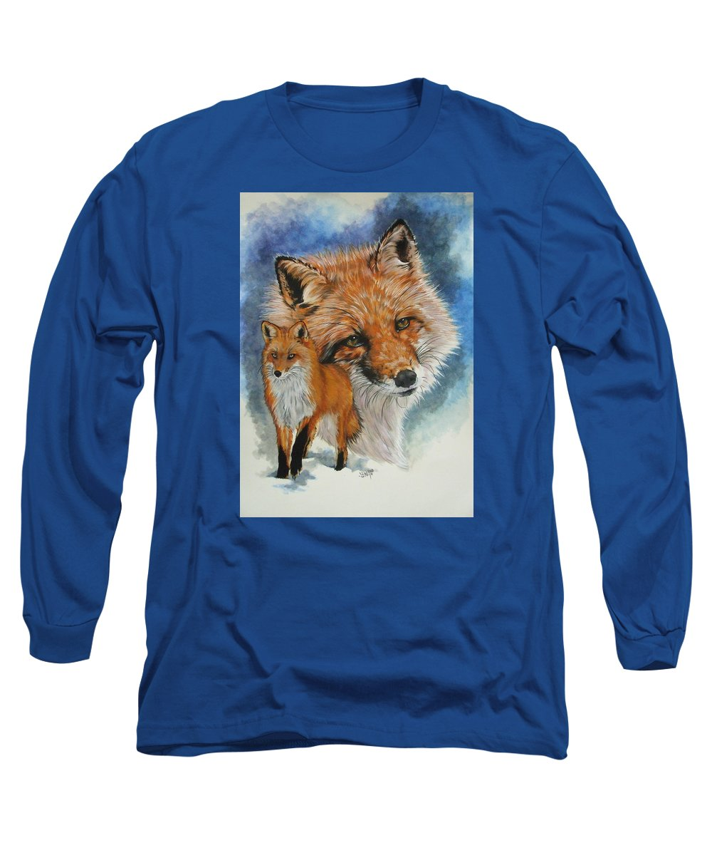 Fox Long Sleeve T-Shirt featuring the mixed media Cunning by Barbara Keith