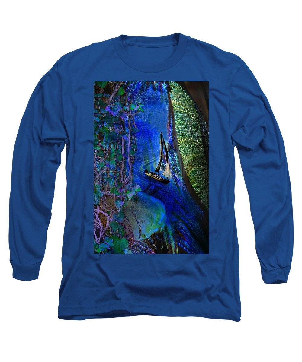 Dark River Long Sleeve T-Shirt featuring the digital art Dark River by Lisa Yount