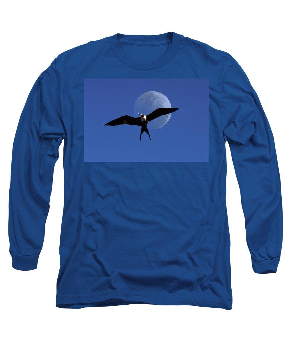Frigate Long Sleeve T-Shirt featuring the photograph Frigatebird Moon by Jerry McElroy