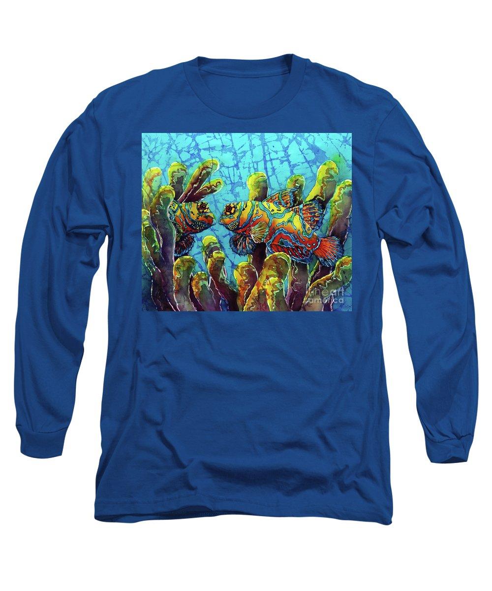 Mandarinfish Long Sleeve T-Shirt featuring the painting Mandarinfish by Sue Duda