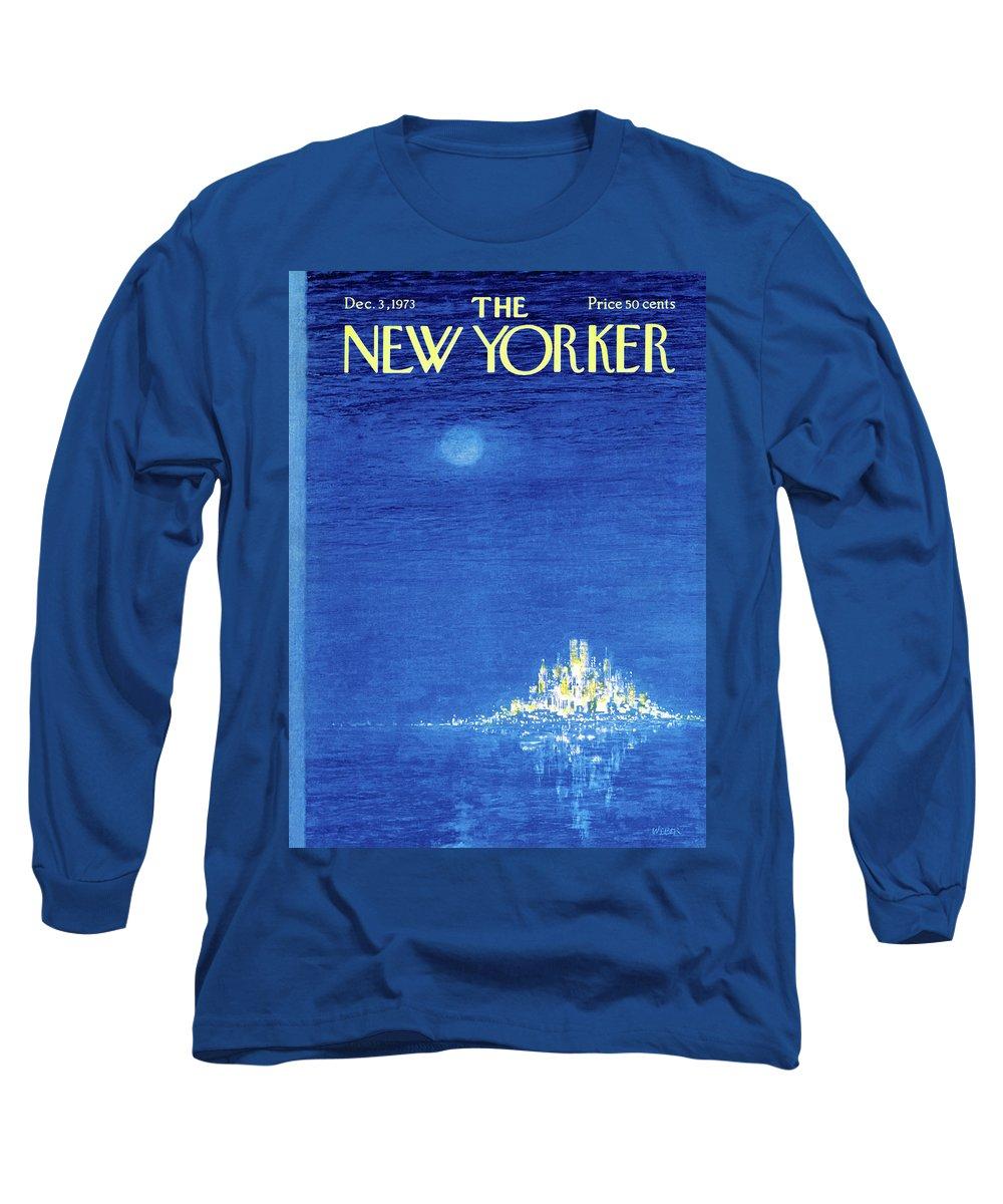 Robert Weber Long Sleeve T-Shirt featuring the painting New Yorker December 3rd, 1973 by Robert Weber