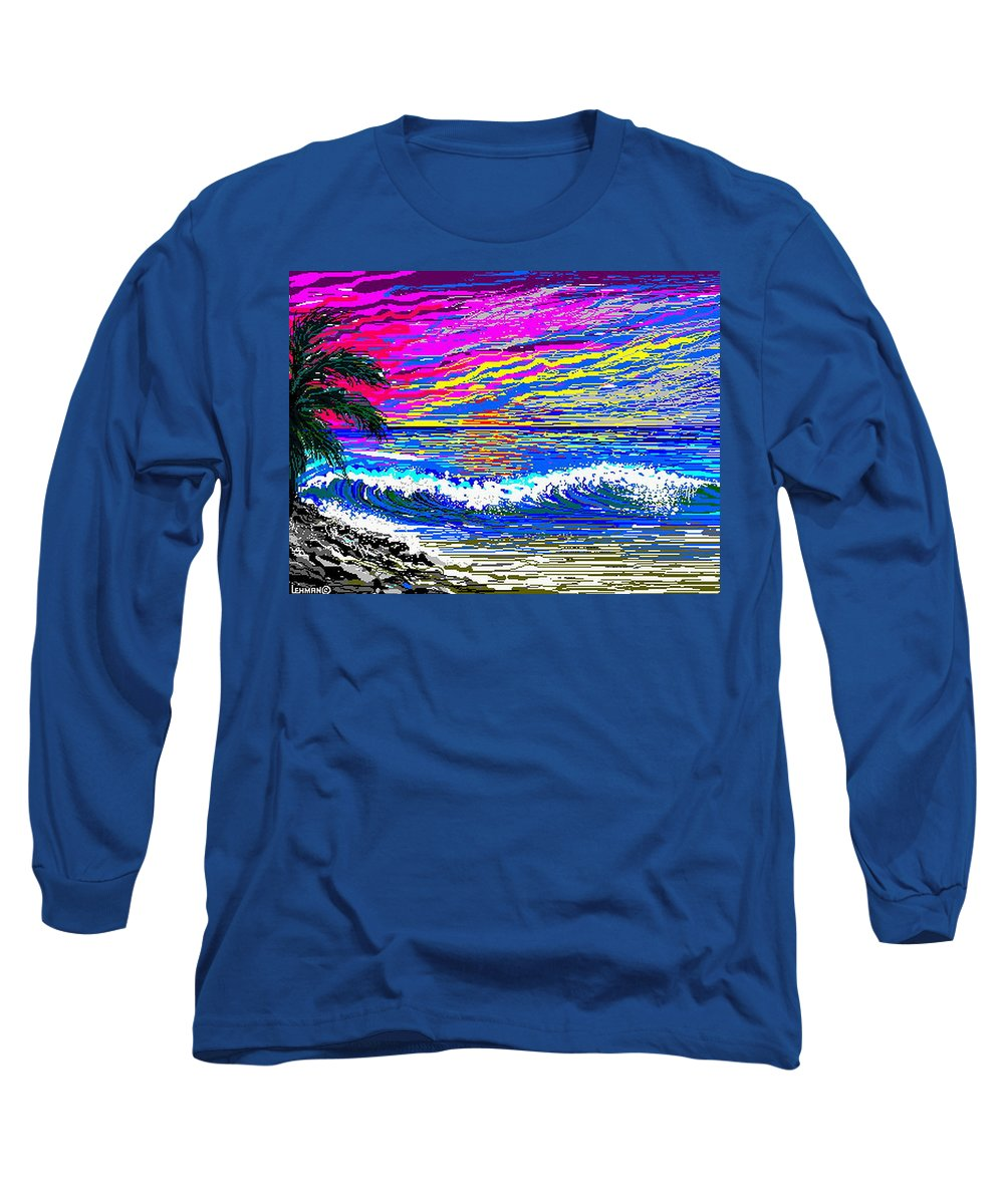 Ocean Sunset Quickly Sketched In One Hour. Long Sleeve T-Shirt featuring the digital art Ocean Sunset by Larry Lehman