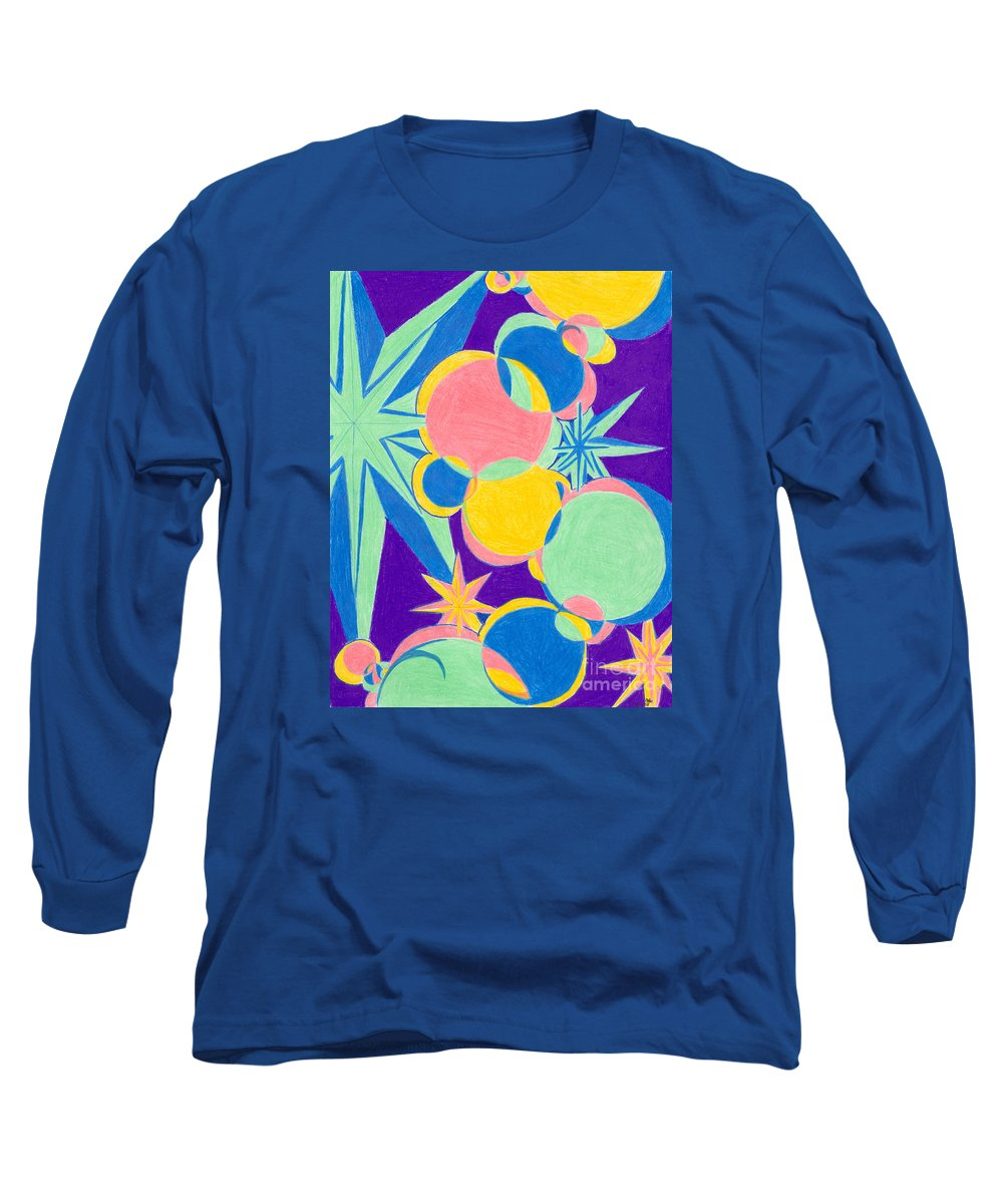 Color Long Sleeve T-Shirt featuring the drawing Planets And Stars by Kim Sy Ok