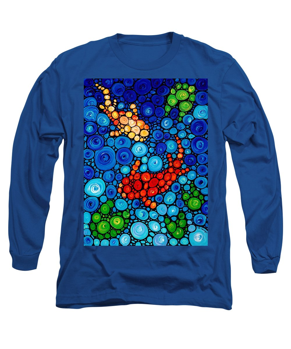 Animals Art Long Sleeve T-Shirt featuring the painting Pure Koi Joi by Sharon Cummings