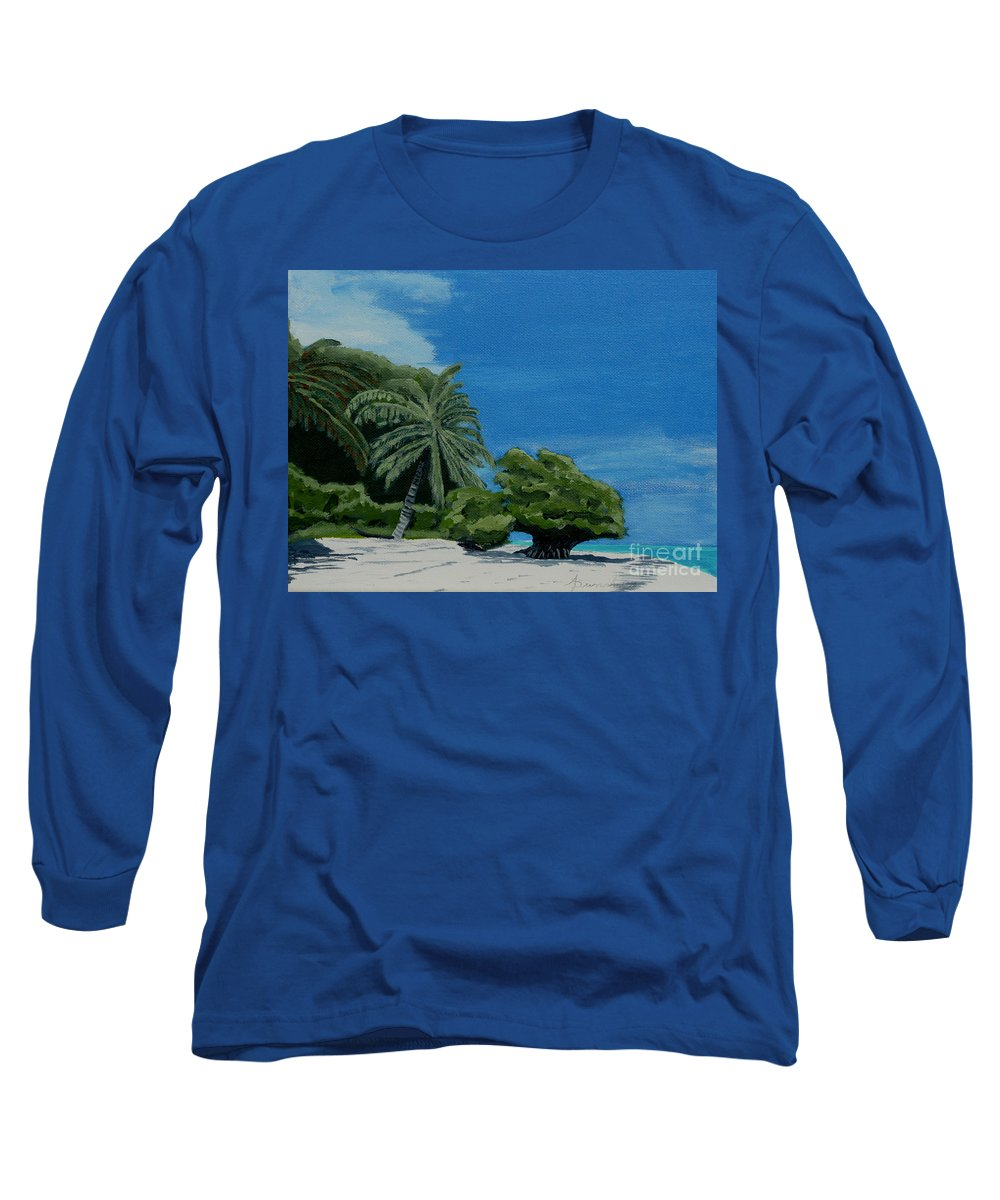 Beach Long Sleeve T-Shirt featuring the painting Tropical Beach by Anthony Dunphy