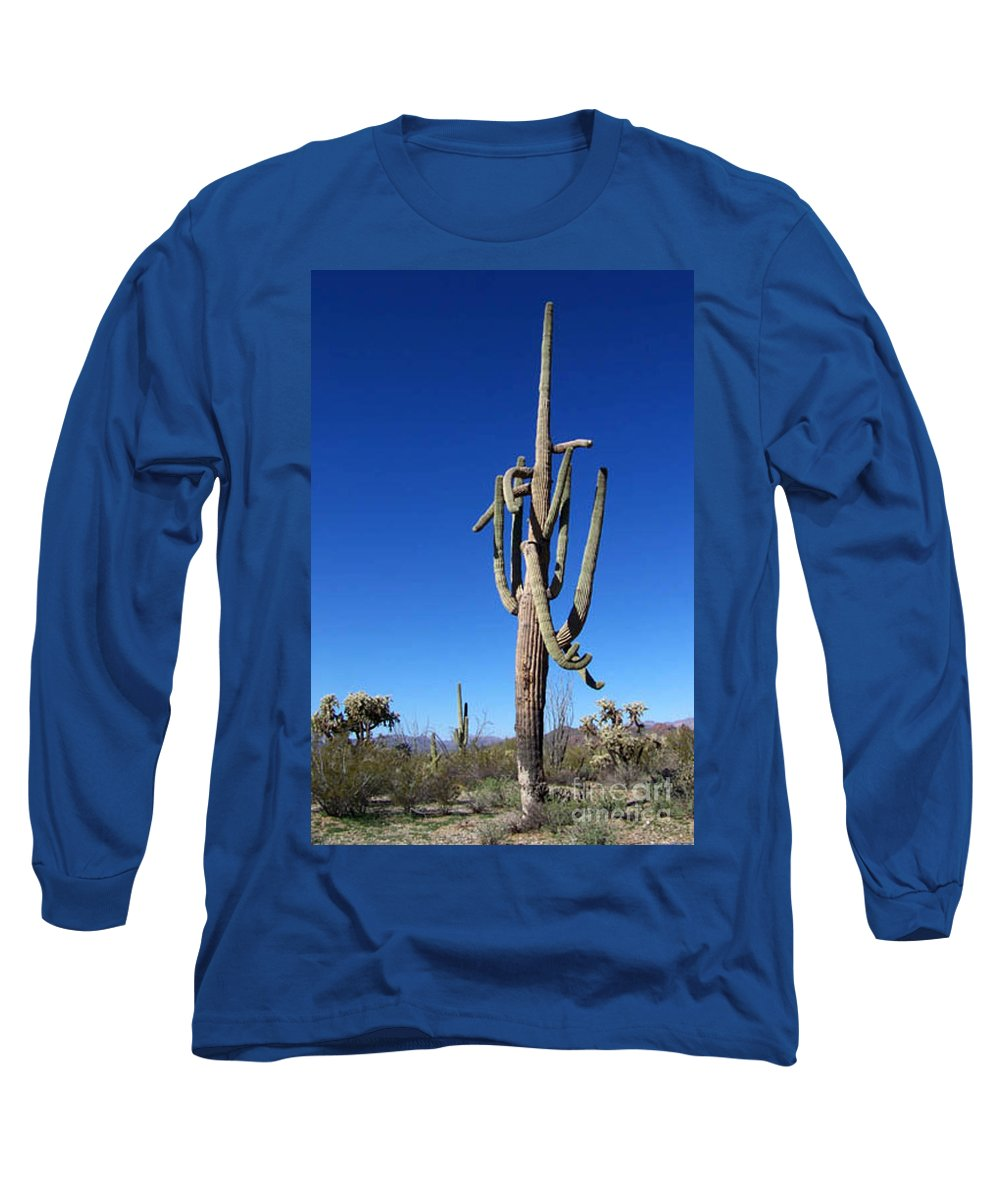 Sahuaro Long Sleeve T-Shirt featuring the photograph Twisted Sentinal by Kathy McClure