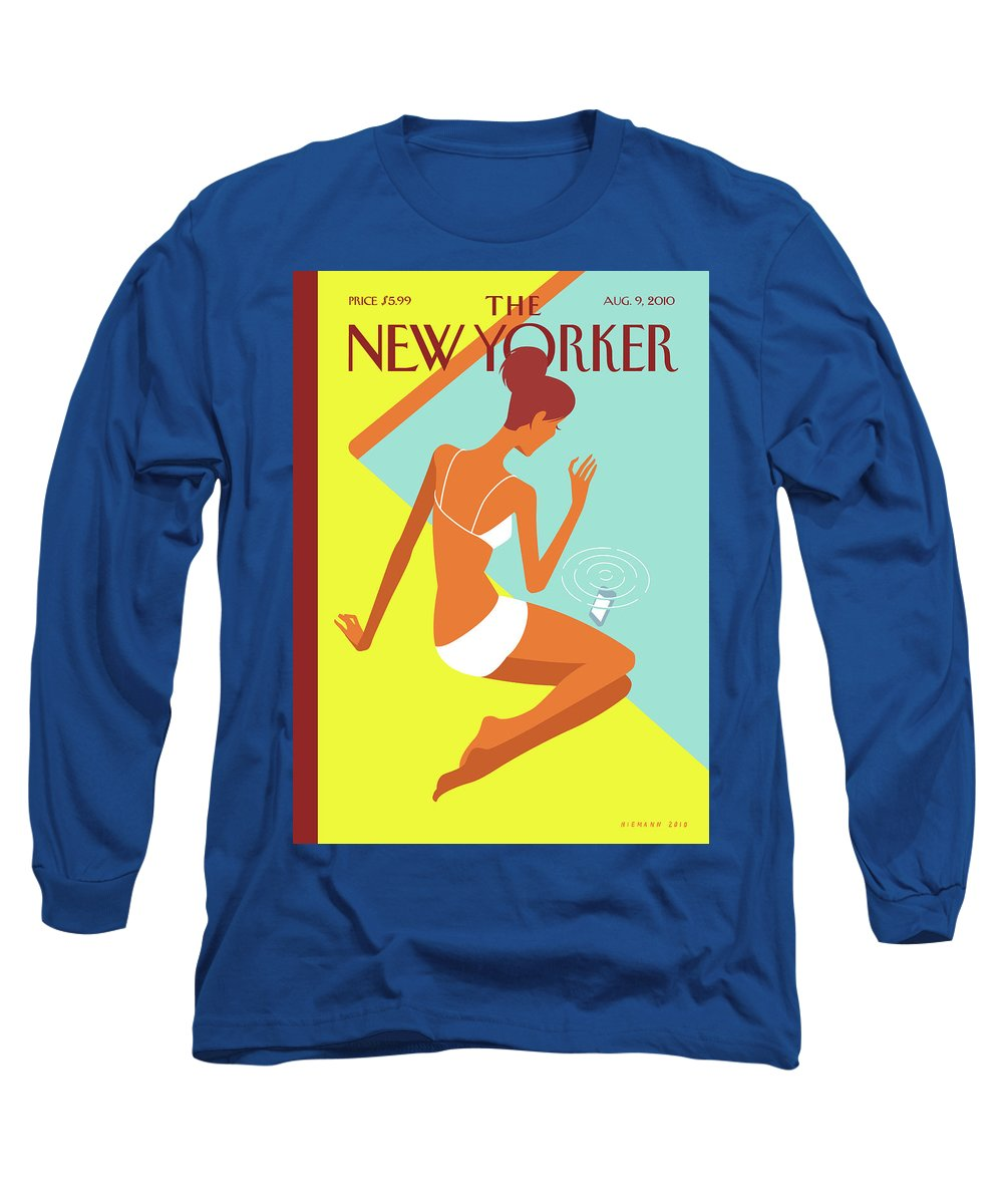 Pool Long Sleeve T-Shirt featuring the painting New Yorker August 9th, 2010 by Christoph Niemann