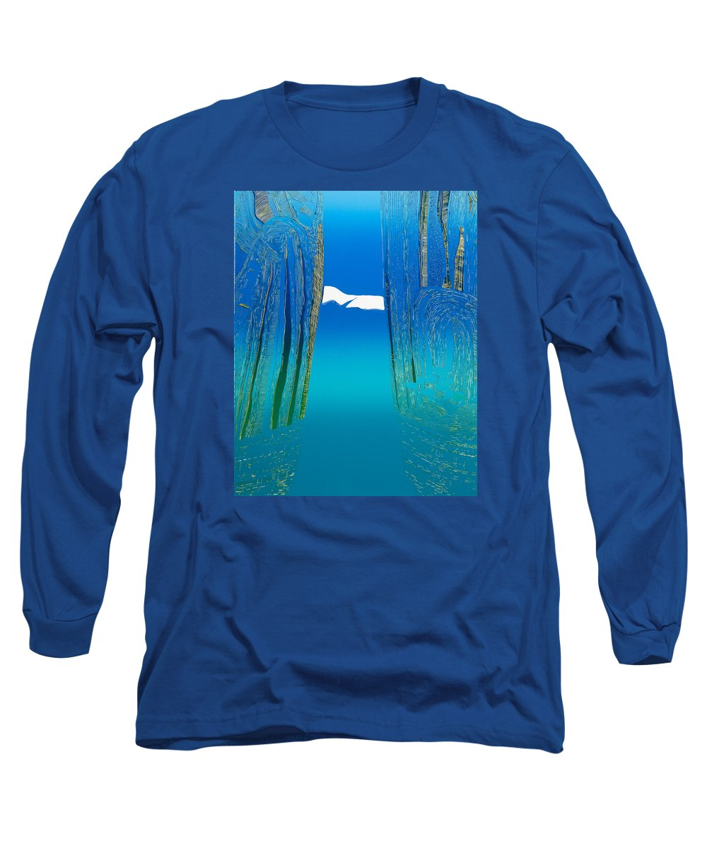 Landscape Long Sleeve T-Shirt featuring the mixed media Between Two Mountains. by Jarle Rosseland