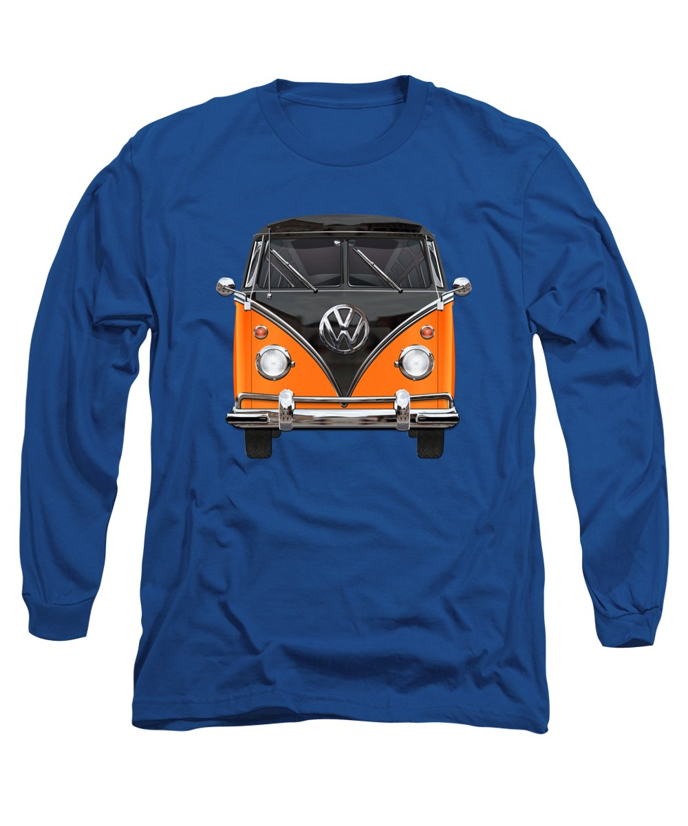 'volkswagen Type 2' Collection By Serge Averbukh Long Sleeve T-Shirt featuring the photograph Volkswagen Type 2 - Black And Orange Volkswagen T 1 Samba Bus Over Blue by Serge Averbukh