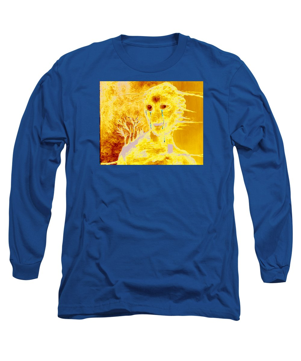 Blue Long Sleeve T-Shirt featuring the painting Untitled by Veronica Jackson