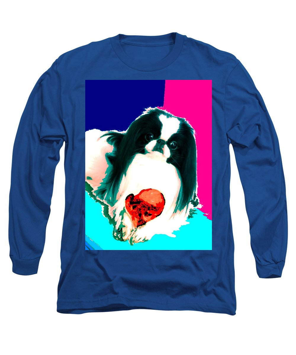 A Japanese Chin And His Toy Long Sleeve T-Shirt featuring the digital art A Japanese Chin And His Toy by Kathleen Sepulveda