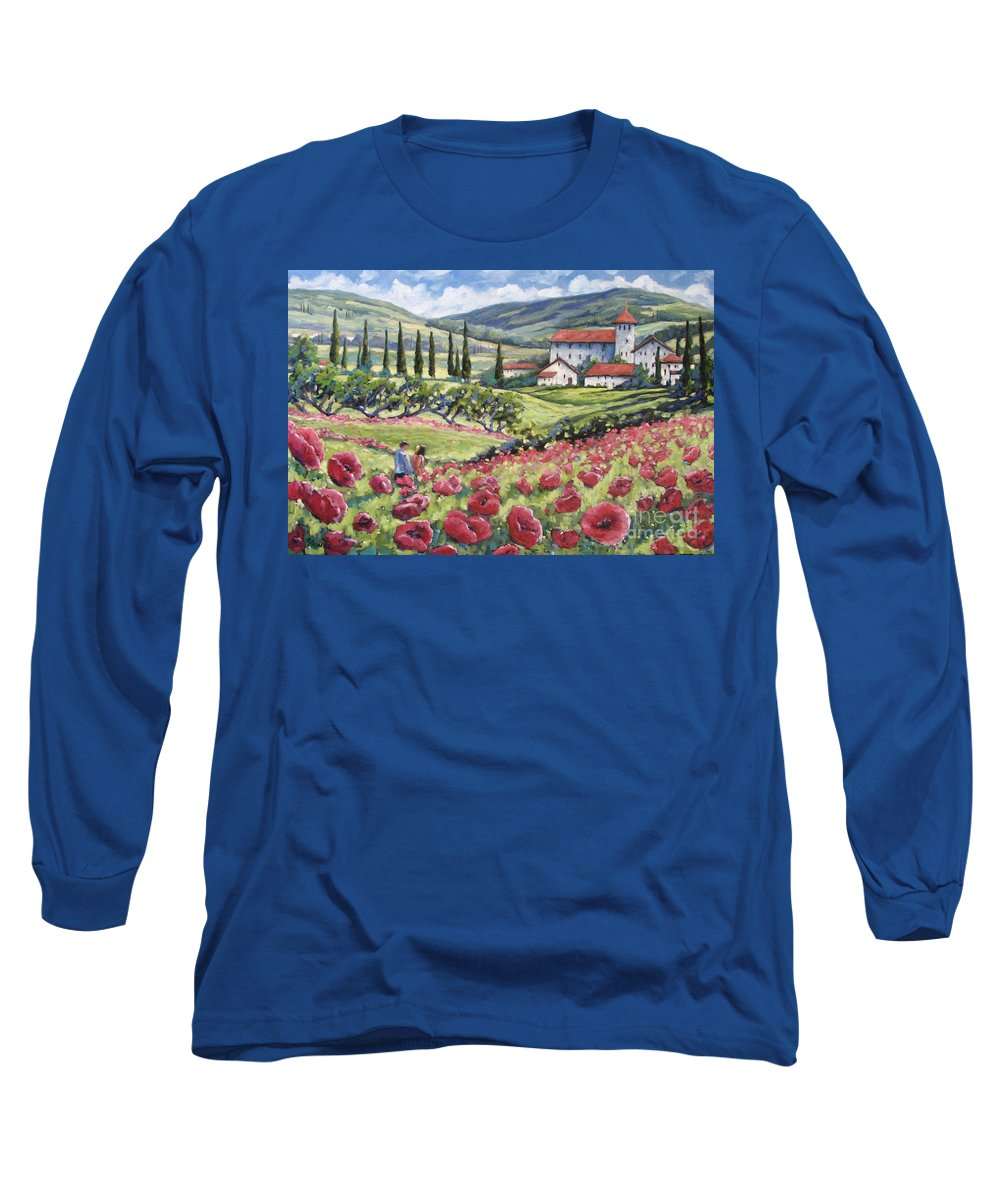 Tuscan Long Sleeve T-Shirt featuring the painting Afternoon Stroll by Richard T Pranke
