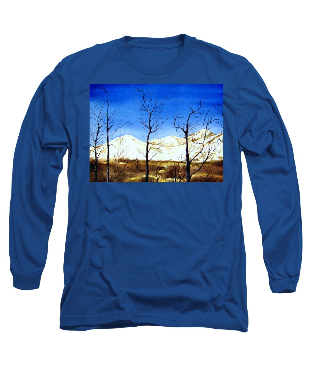 Landscape Long Sleeve T-Shirt featuring the painting Alaska Blue Sky Day by Brenda Owen