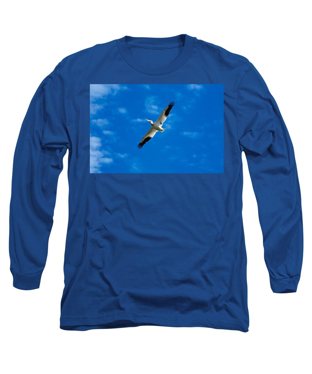 American Long Sleeve T-Shirt featuring the photograph American White Pelican by Marilyn Hunt