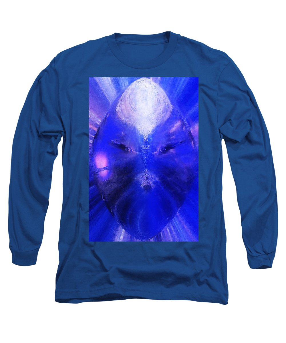 Digital Painting Long Sleeve T-Shirt featuring the digital art An Alien Visage by David Lane