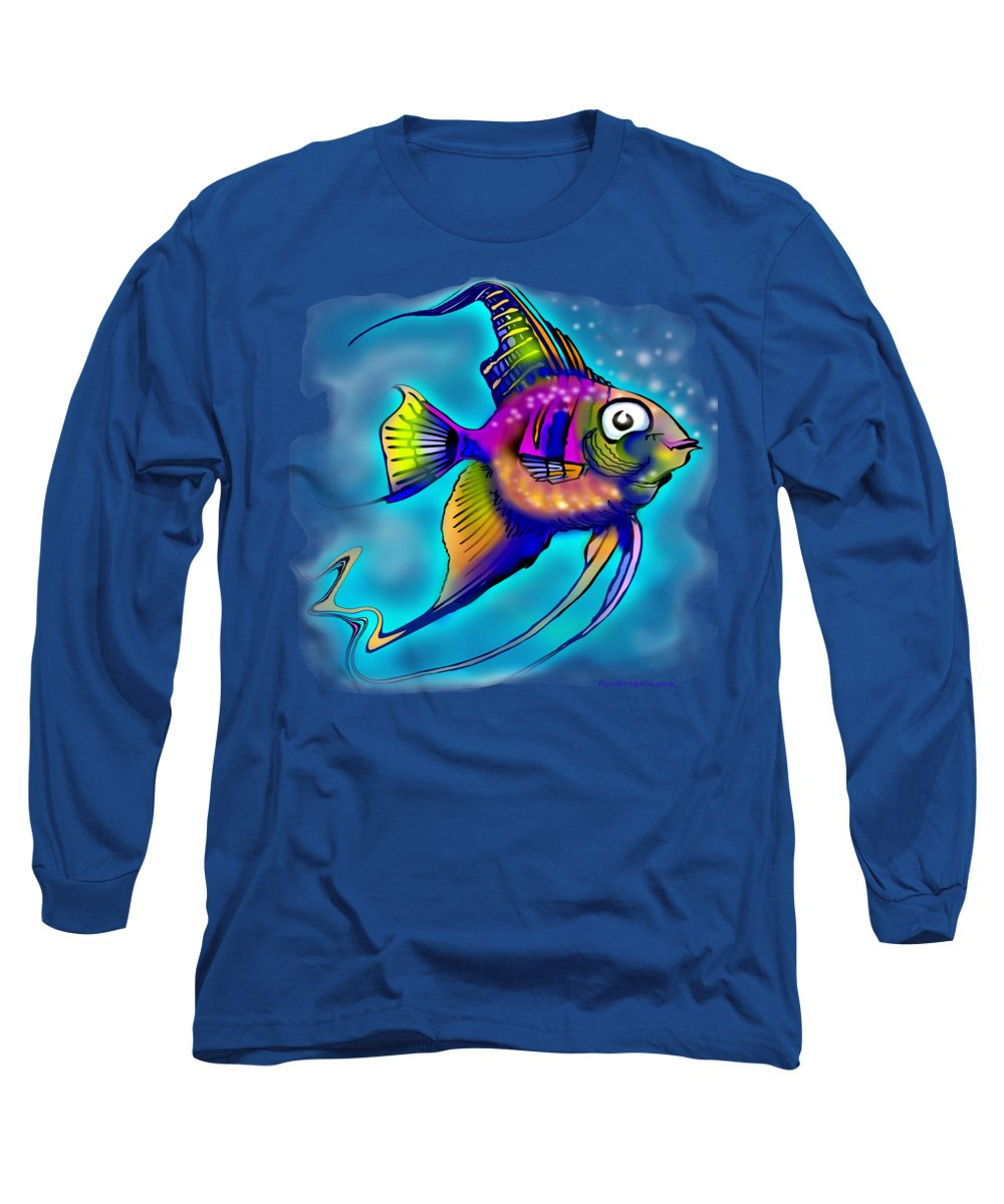 Angelfish Long Sleeve T-Shirt featuring the painting Angelfish by Kevin Middleton