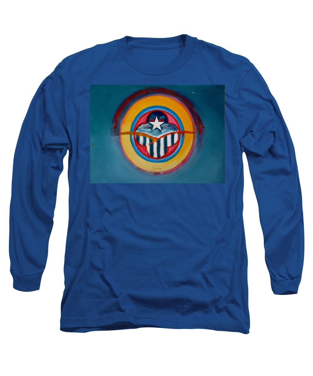 Button Long Sleeve T-Shirt featuring the painting Army by Charles Stuart