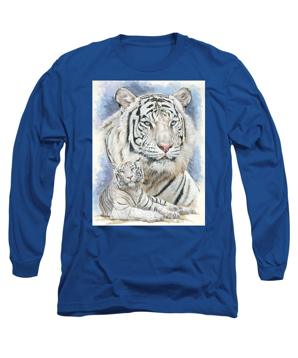 Big Cat Long Sleeve T-Shirt featuring the mixed media Dignity by Barbara Keith