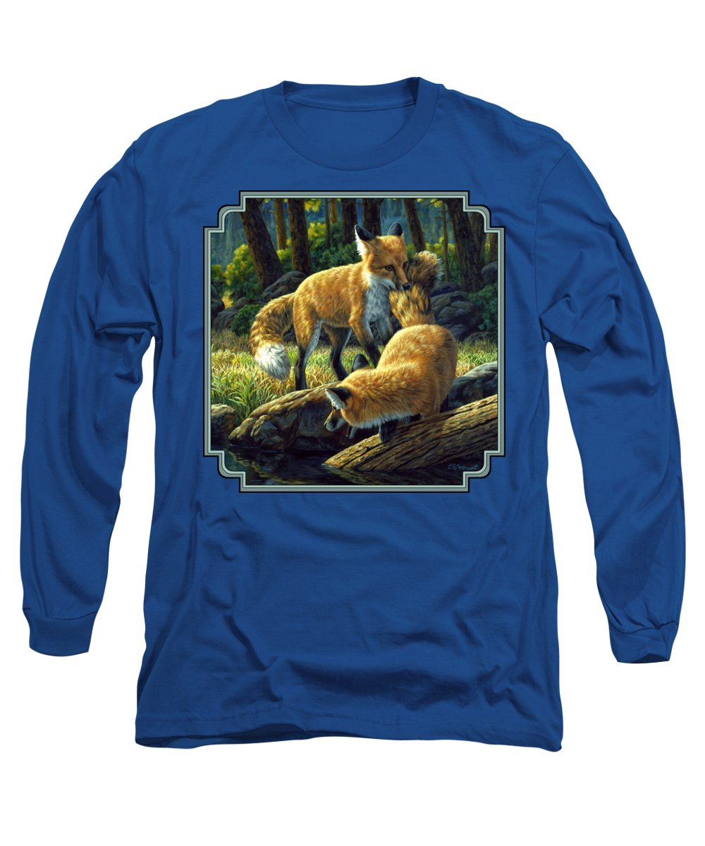 Fox Long Sleeve T-Shirt featuring the painting Red Foxes - Sibling Rivalry by Crista Forest