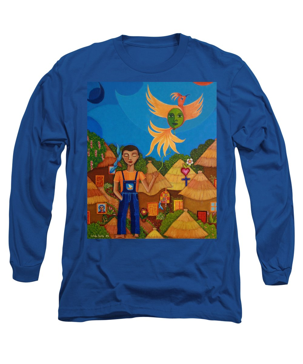 Autism Long Sleeve T-Shirt featuring the painting Autism - A Flight To... by Madalena Lobao-Tello