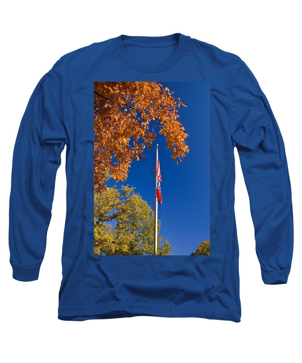Flag Long Sleeve T-Shirt featuring the photograph Autumn Flag by Douglas Barnett