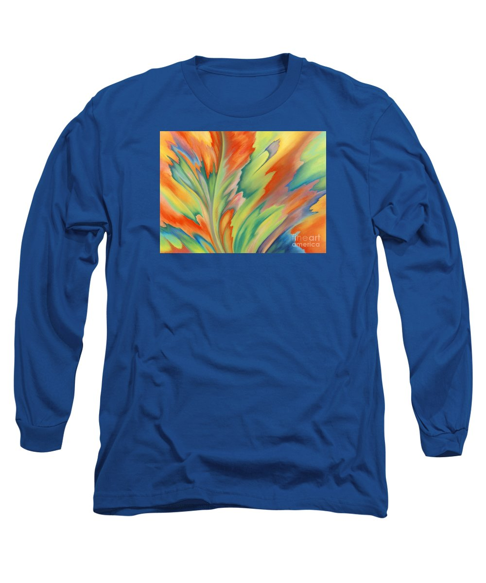 Abstract Long Sleeve T-Shirt featuring the painting Autumn Flame by Lucy Arnold