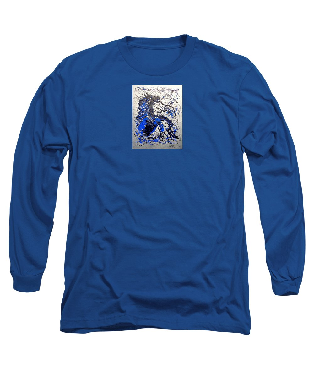 Abstract/impressionist Art Long Sleeve T-Shirt featuring the painting Azul Diablo by J R Seymour