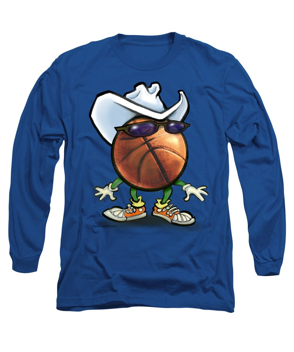 Basketball Long Sleeve T-Shirt featuring the digital art Basketball Cowboy by Kevin Middleton
