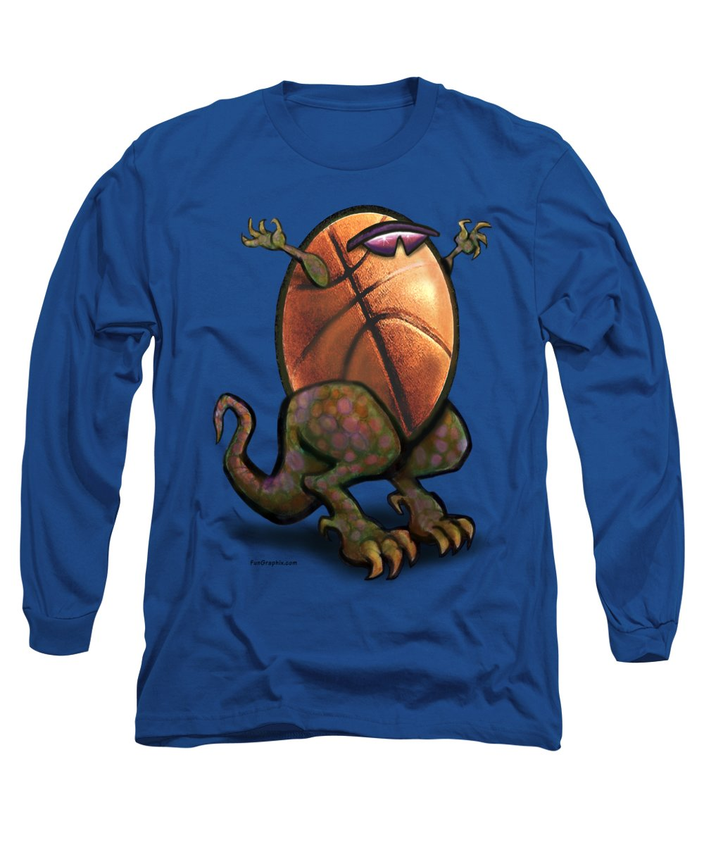 Basketball Long Sleeve T-Shirt featuring the digital art Basketball Saurus Rex by Kevin Middleton