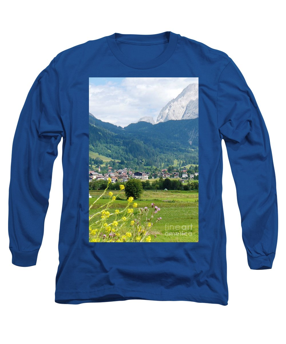 Bavaria Long Sleeve T-Shirt featuring the photograph Bavarian Alps With Village And Flowers by Carol Groenen