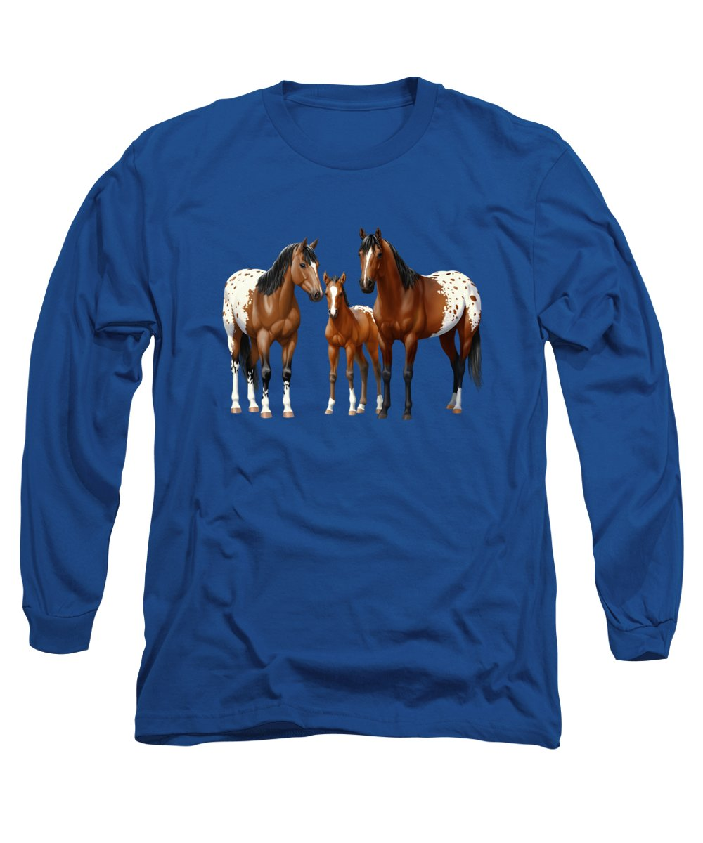 Bay Horse Long Sleeve T-Shirt featuring the painting Bay Appaloosa Horses In Winter Pasture by Crista Forest