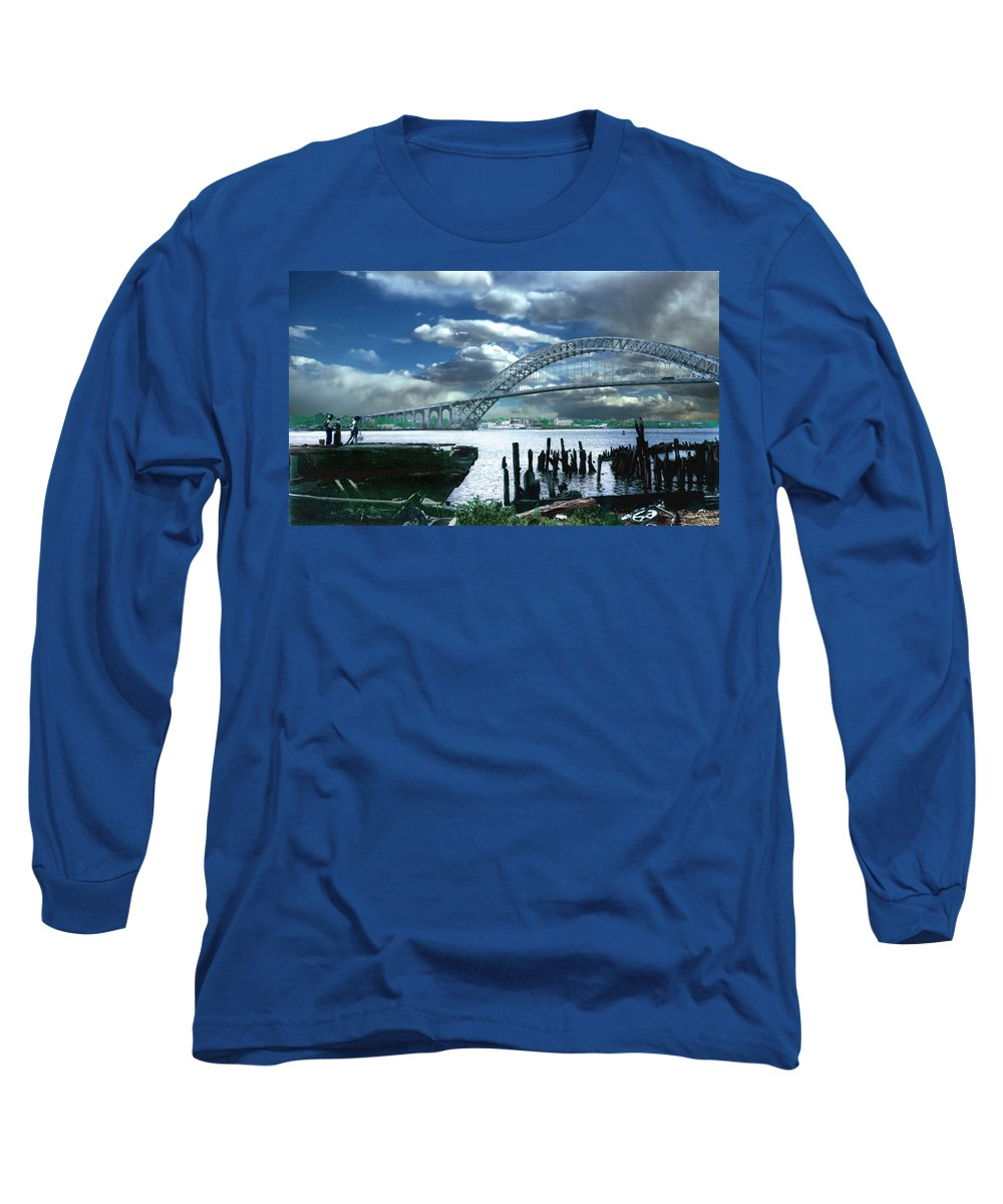 Seascape Long Sleeve T-Shirt featuring the photograph Bayonne Bridge by Steve Karol