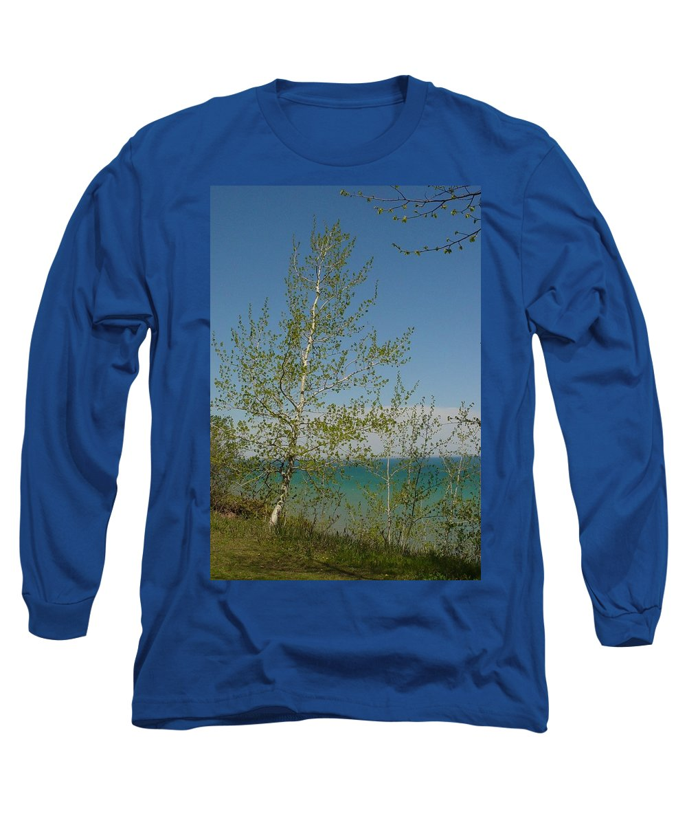 Birch Tree Long Sleeve T-Shirt featuring the photograph Birch Tree Over Lake by Anita Burgermeister