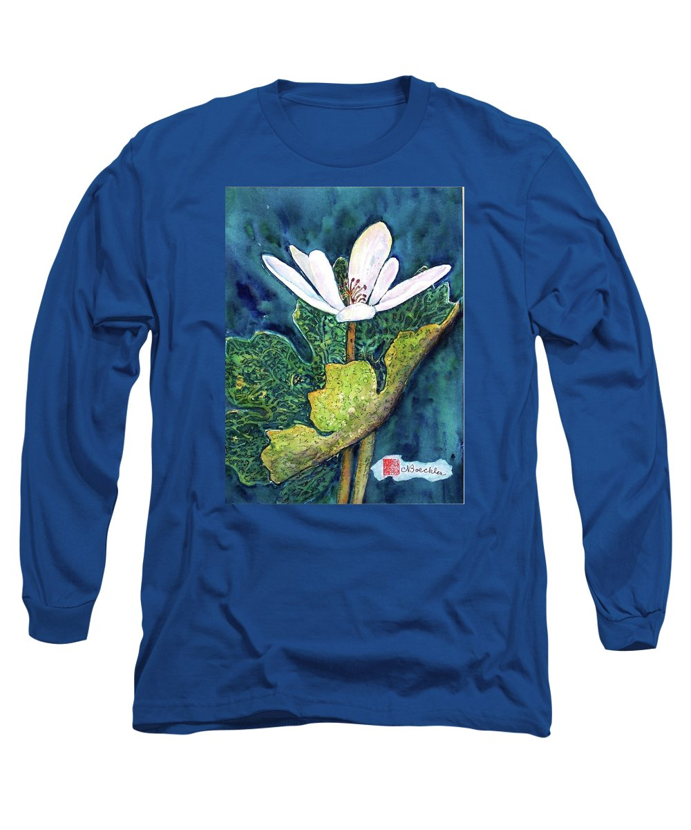 White Flower Long Sleeve T-Shirt featuring the painting Blood Root by Norma Boeckler