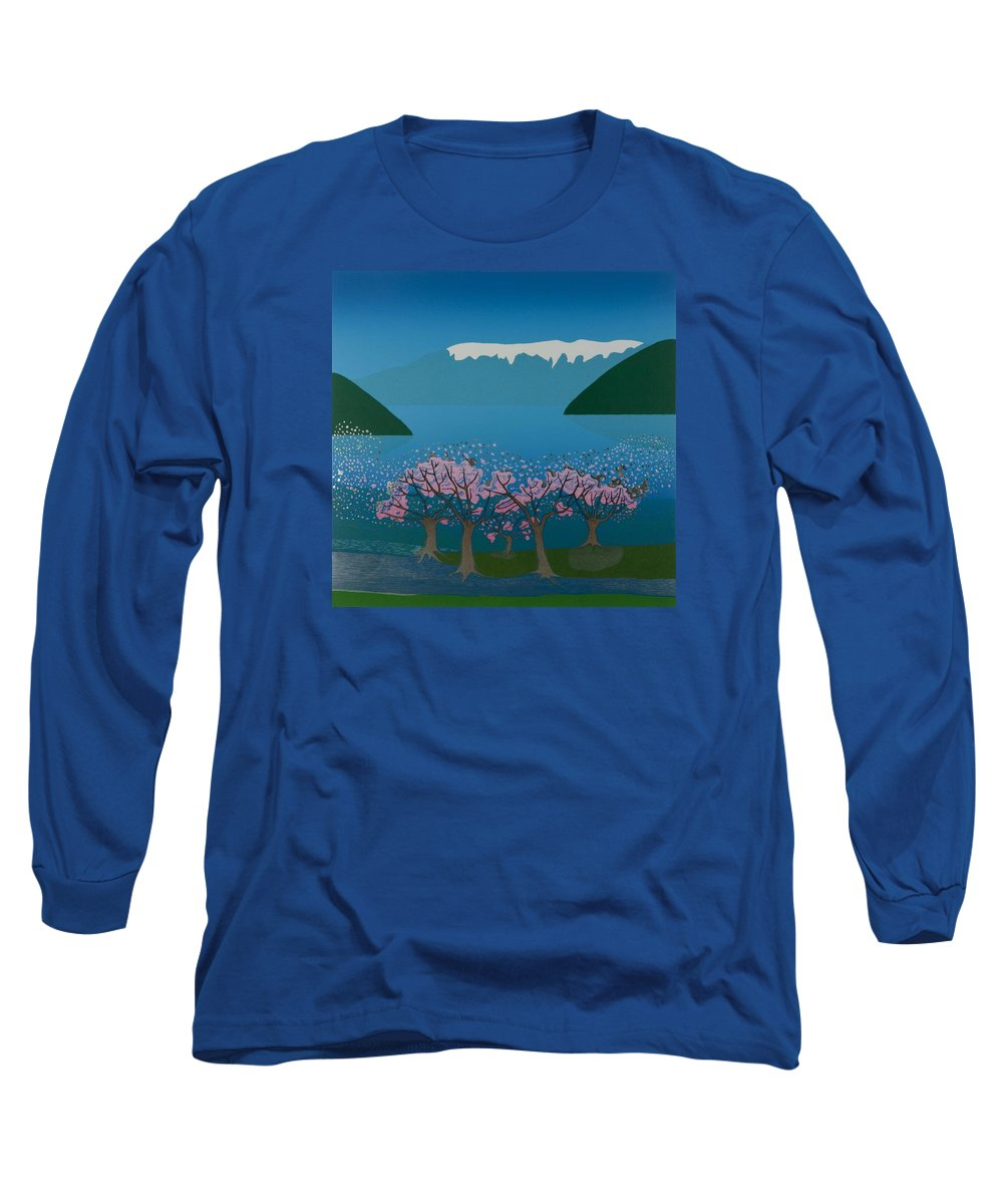Landscape Long Sleeve T-Shirt featuring the mixed media Blossom In The Hardanger Fjord by Jarle Rosseland