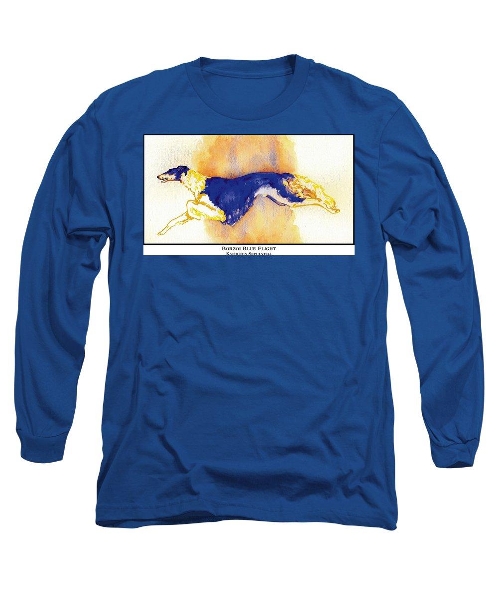 Borzoi Long Sleeve T-Shirt featuring the digital art Borzoi Blue Flight by Kathleen Sepulveda