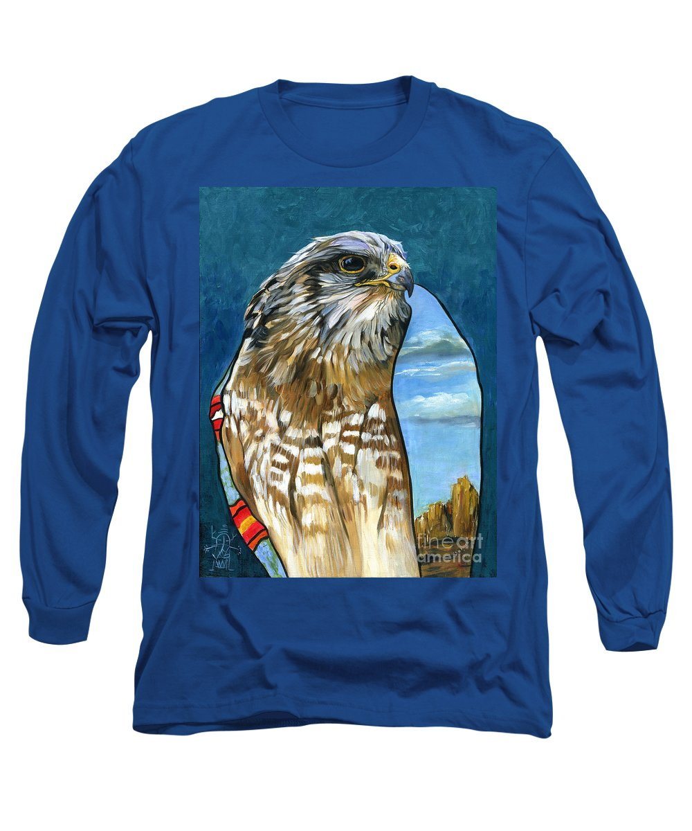 Hawk Long Sleeve T-Shirt featuring the painting Brother Hawk by J W Baker
