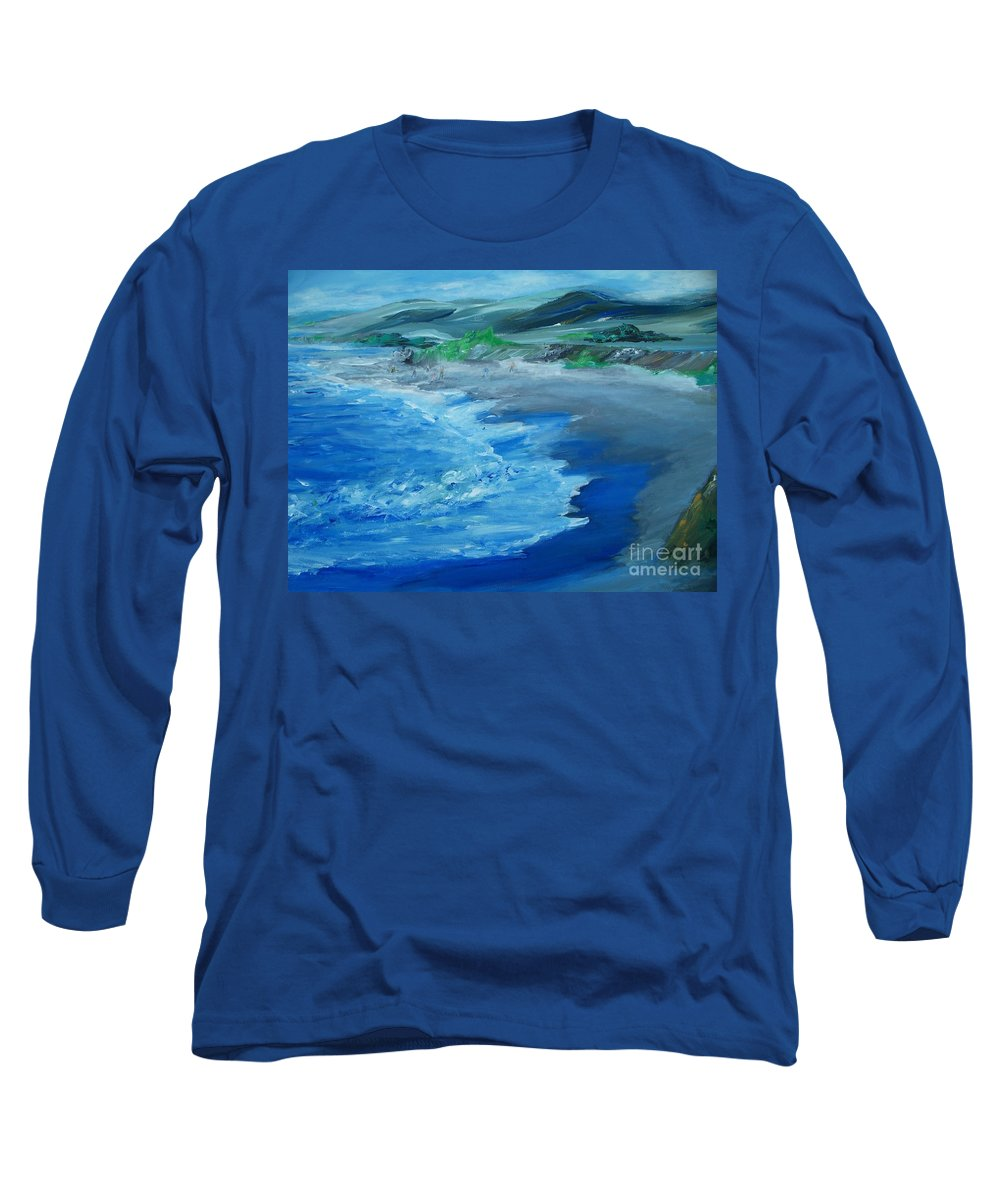 California Coast Long Sleeve T-Shirt featuring the painting California Coastline Impressionism by Eric Schiabor