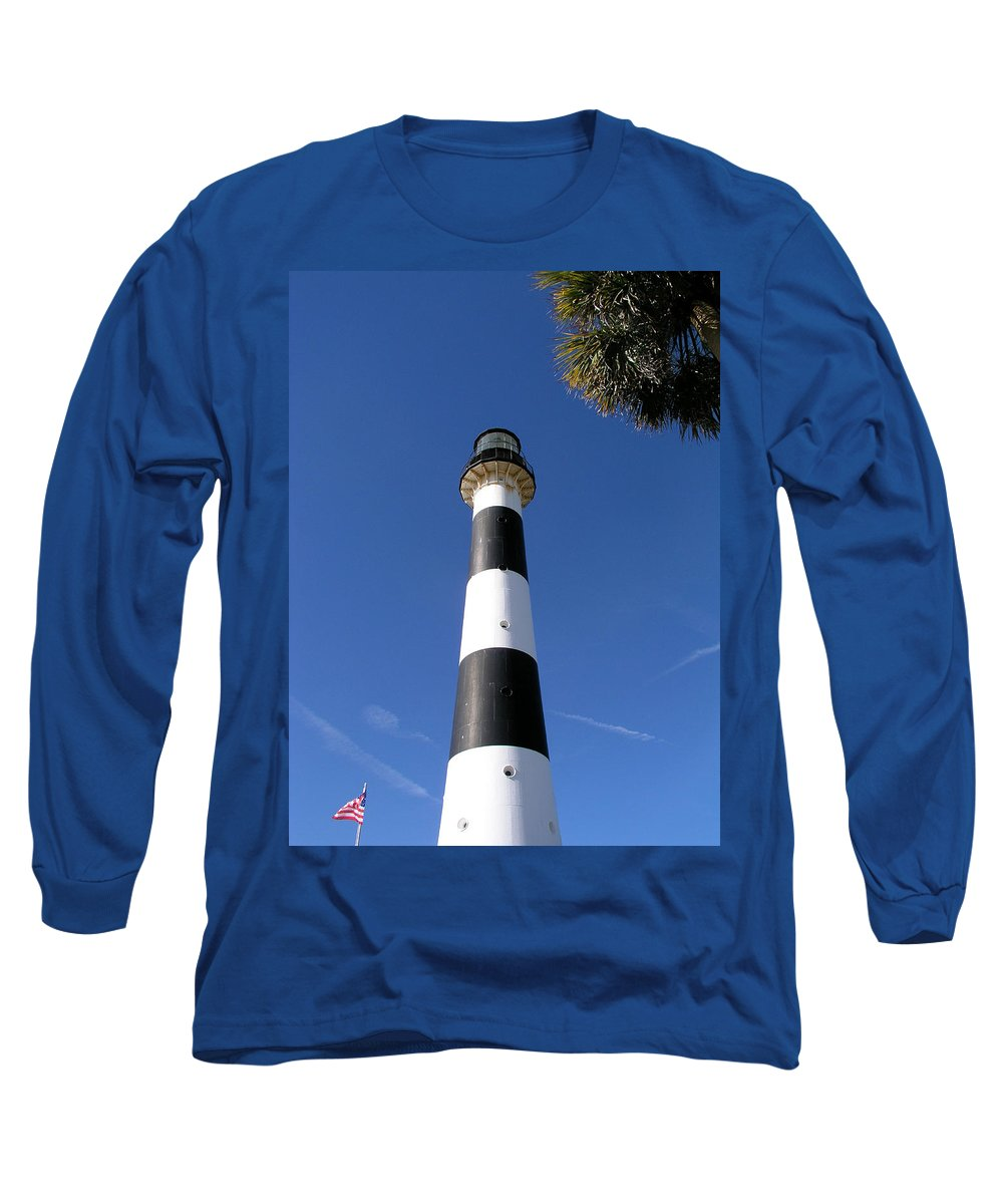 Cape; Canaveral; Light; Lighthouse; Lighthousekeeper; Keeper; Stairs; Kennedy; Space; Center; Air; F Long Sleeve T-Shirt featuring the photograph Canaveral Light by Allan Hughes
